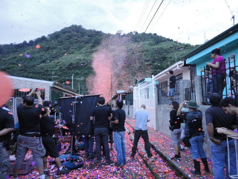 Flower Petals Over Town In Costa Rica for Sony advert