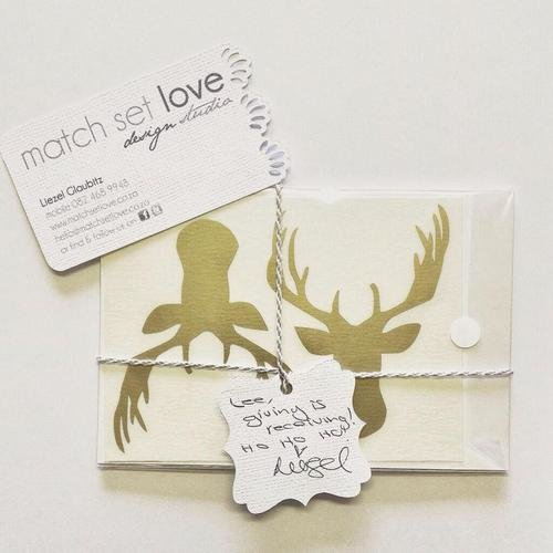A set of gold reindeer vinyl stickers by Match Set Love
