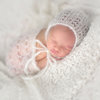Silk mohair newborn bonnet and wrap, LB-48 by Lavender Blossoms