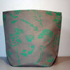 Large Pastel Green on Grey Wild Flower Soft Pot by Criss Cross