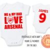 PERSONALISED ARSENAL FC Baby Grow with NAME & NUMBER/ ARSENAL Onesie / Grower/ Bodyvest / Baby Clothes /Baby Shower Gift   by Little Lion Cub Boutique