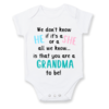 We don't know if it's a HE or a SHE all we know is that you are GRANDPARENTS to be/BABY ANNOUNCEMENT/PREGNANCY REVEAL onesie - Baby Grow - Baby bodyvest - Unisex - cute onesie - Baby Announcement Idea - Pregnancy Reveal for grandparents by Little Lion Cub Studio