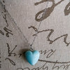 Pale blue ceramic heart pendant necklace by Heart Jewelry Creations