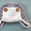 Crochet Aviator Hat in Cotton Yarn - Made to Order by Croshka Designs