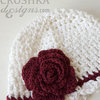 Handmade crochet baby girl Miriam beanie by Croshka Designs
