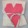 White and Pink Heart Baby Blanket by Pink Milk