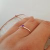 Fine Textured Silver Amethyst Stack Ring  by La Mae Jewellery