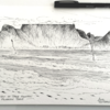 Original Cape Town Art, Table Mountain 2 x Landscape / Seascape Pen Drawings, Size A4. Small Wall Art for Nature Lovers made by Cape Town Artist, Adri Voulgarellis by WHISP by Adri