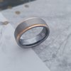 T6 Brushed Tungsten Ring with Rose Gold Plating by La Mae Jewellery
