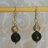 Cracked Black Quartz and Sterling Silver Earrings by Cecilia Robinson Jewellery