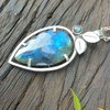 Sterling Silver Pendant with rosecut Labradorite including chain by Cecilia Robinson Jewellery