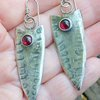 Long Arrowhead Stirling Silver Earrings with Garnets by Cecilia Robinson Jewellery