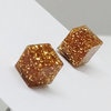 Resin Earring - Encased Gold Glitter Square by Honeydog Designs
