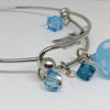 Stainless steel Bracelet with Art Glass and swarovski Blue by Honeydog Designs