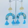 Blue and Gold Resin Statement Earrings by Honeydog Designs