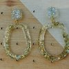 Clear Resin with gold nugget pieces earrings  by Honeydog Designs