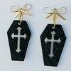Black Coffin with cross detail resin earrings by Honeydog Designs