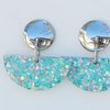 Blue and Pink glitter resin Earrings  by Honeydog Designs