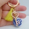 Keyring - Orphan Art glass Blue Bead by Honeydog Designs