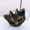 Black and gold Faun Kitty pendant resin  by Honeydog Designs