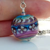 Pink, blue and gold Glass art Bead  by Honeydog Designs