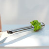 Cheese knife with green frog art glass bead nr.2 by Honeydog Designs