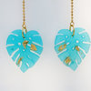 Delicious Monstera resin Earrings with sea-blue tone by Honeydog Designs