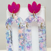 Pink and Purple Dotty Resin earrings by Honeydog Designs
