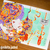 Psychedelic Geisha A2 Watercolour Painting Art Print by Nikita Jaded