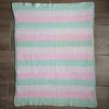 Knitted Baby Blanket - Pink, White and Mint Stripes by Copper Fox Handmade