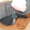 Boho Sterling Silver Dreamcatcher Pendant with Turquoise Bead by La Mae Jewellery