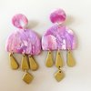 Rose & Lavender Quartz Clay Earrings - one of a kind!  by Moon and Maple