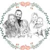 Custom Portrait Illustration With Wreath 5 subjects by Watercolour Heart