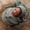 "Newborn hat and wrap 12"" x 60"",brushed alpaca set, newborn photo prop, LB-92 by Lavender Blossoms Props"