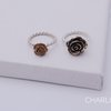Bronze rose on sterling silver twisted ring by Charli Design Studio