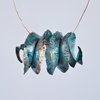 Fold-formed Copper Spiral Pendant in Verdigris Patina  by Patch of Shore