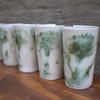 Porcelain glasses with Green Pincushion design by Cerameek