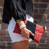 Red and orange Shweshwe and black leather Clutch Bag - Leather sling - YEBO - Funeka by We All Share Roots