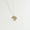 Brass Africa Pendant on Silver Chain by Liwo Design