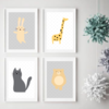 4 Cute Animal Prints - Nursery Room Decor  by dgposters