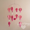 hot air balloon mobile with butterflies in pink by HeartString