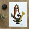 ​Basset hound paleontologist  postcard by Terrapin and Toad
