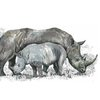 A3 print - Black Rhino and Calf by Treehouse Arts