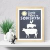 Good Morning Sunshine, printable wall art Denim and lightblue gingham  by hcmorrison printables