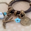 Brown leather wrap charm bracelet - love and be loved by Heart Jewelry Creations