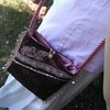 Lace and satin brown on rose slingbag by Heavenly Handmade