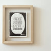 """Things are getting worse. Please send more chocolate"" Framed print by Tatjana Buisson Design/ Illustration"