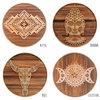 Wooden Engraved Bamboo Coasters - Set of 4 - (Bohemian Home Decor/Modern/Coastal/Scandi Boho/Natural/Rustic/Interior/Aztec/Henna/Table) by Wild Minds