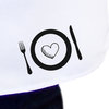 Cooking is love made visible, White kitchen apron with colour detail, Full bib black apron, White cooking apron by Toast Stationery