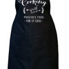 Cooking with love provides food for the soul, Black bib kitchen apron, Unisex kitchen apron. Custom text colour by Toast Stationery